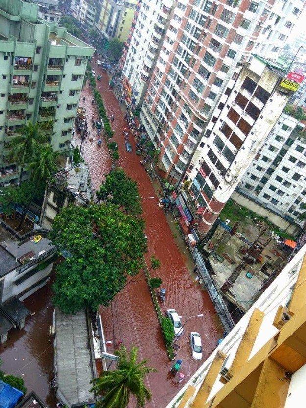 バングラデシュ首都ダッカにて 動物の生け贄を捧げるイード・アル=アドハーの日の光景 前夜に降った大雨と血が混ざり街はこの有様にhttps://t.co/jcLaquSFcu https://t.co/R5o0bNvlNr