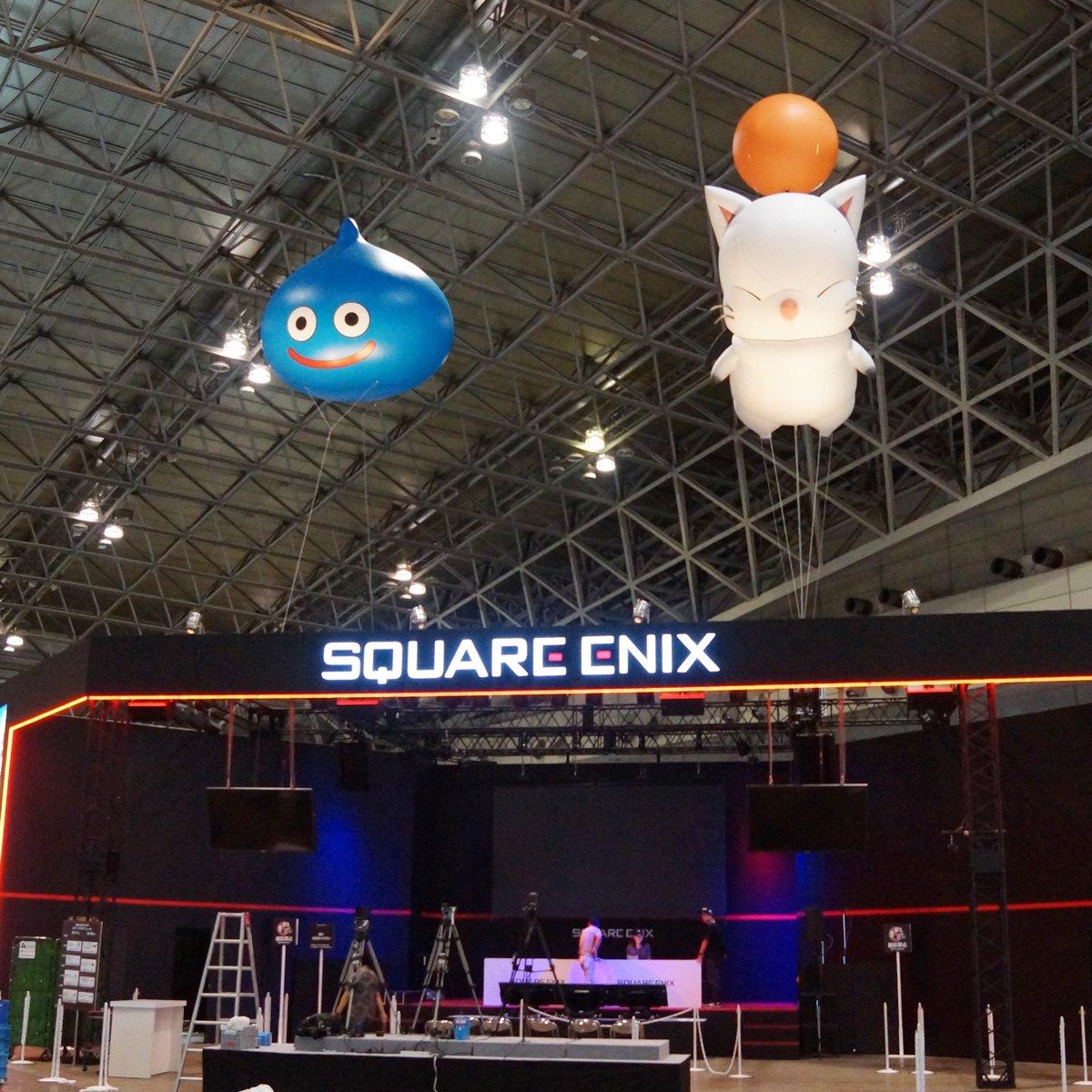 いよいよ明日から「東京ゲームショウ2016」開催です! ブースの設営もほぼ終わりました。今年のスクエニブースはスライムとモーグリのバルーンが目印! #TGS2016 https://t.co/8uxc22gN20