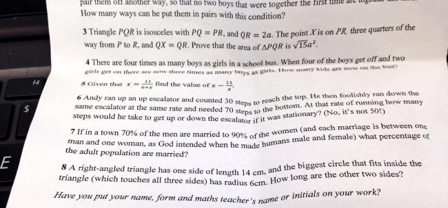 British grammar school gives pupils homophobic maths question https://t.co/EQNFKGNHKH https://t.co/RMTxhZXtDM