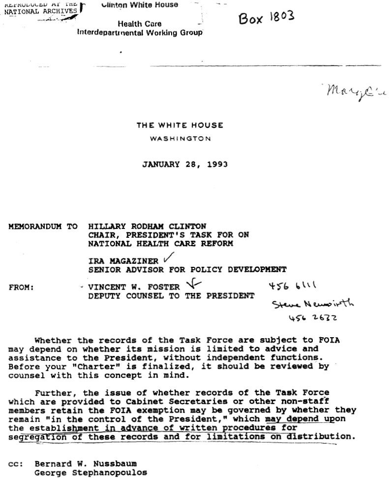 """Clinton's """"culture of deceit"""" goes way back as seen in 1993 letter plotting to hide health taskforce records. https://t.co/gmVL9XIigr"""