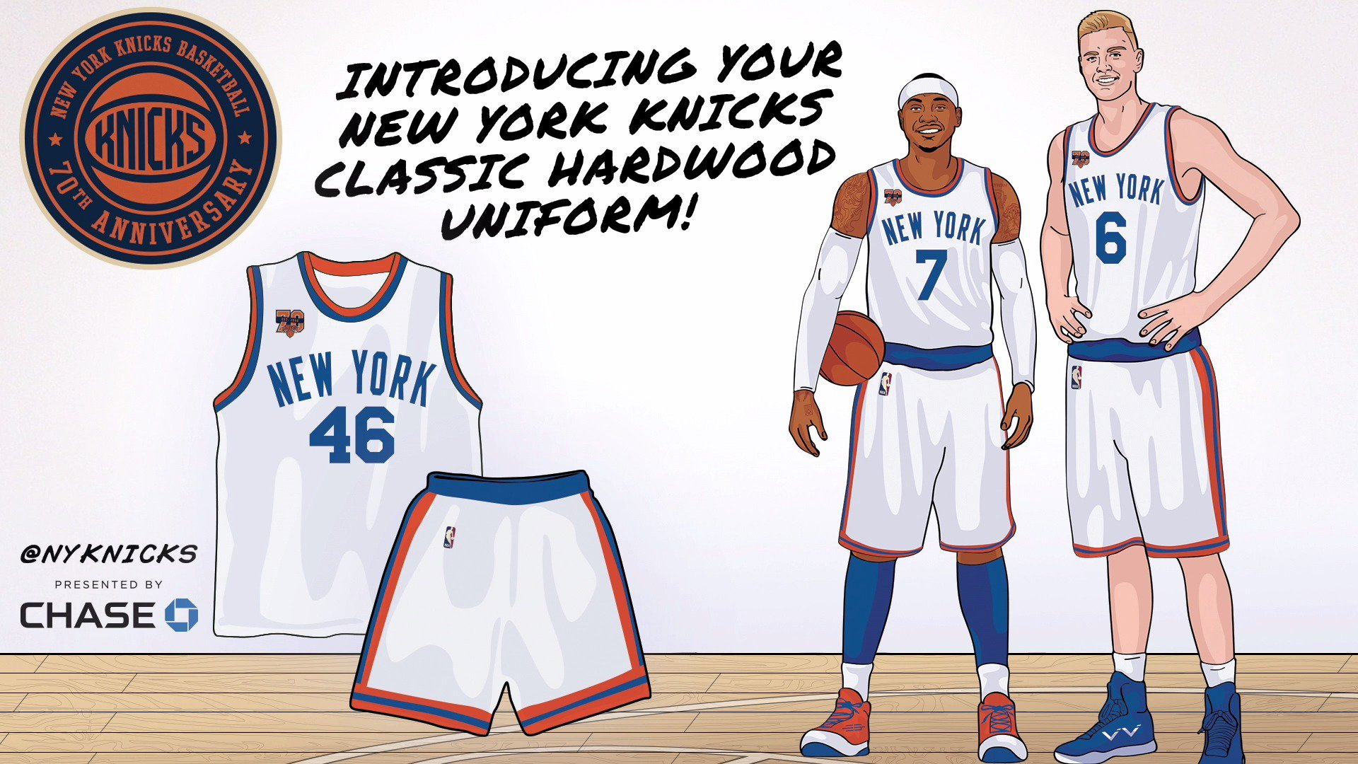 Here's your exclusive look at our Hardwood Classic jerseys this year! 42 days until the opener! #NYK70 https://t.co/W7B4zwP5zB