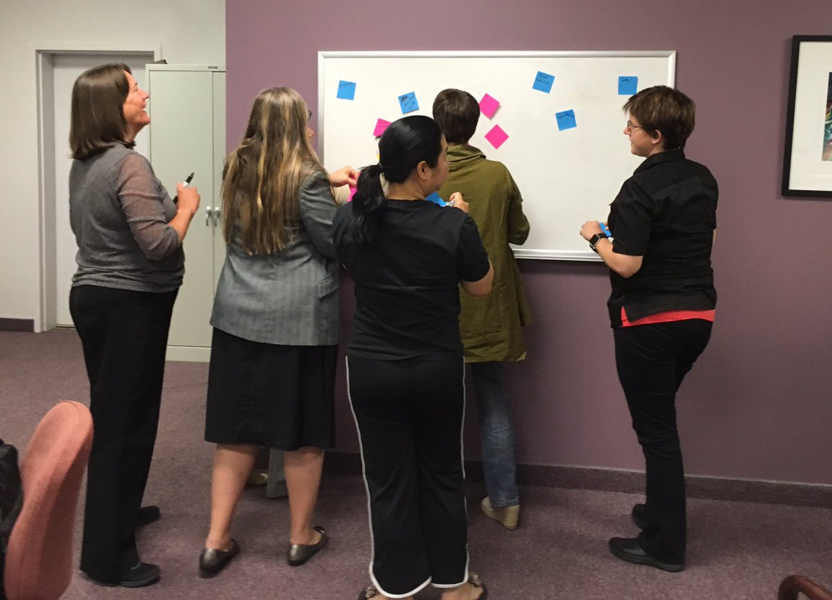 """This is what brainstorming looks like at @innogrove""""s #womenintech #designthinking workshop w/@ChangeAsUsual https://t.co/rXiNv28qQ5"""