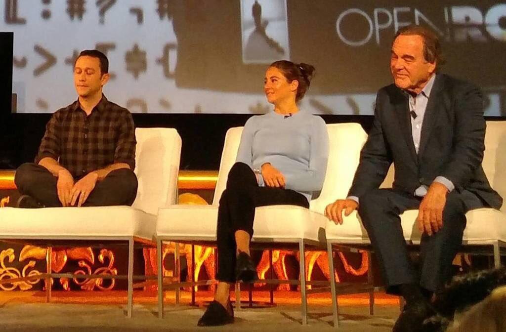 .@TheOliverStone, @ShaileneWoodley & @hitRECordJoe looking quite #zen at the #SnowdenMovie live event tonight. https://t.co/mEkS2jOLp2