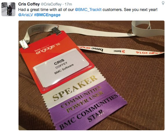 For you, Engage 2016 recap: pixes, videos and more!  https://t.co/R5BecaE25s  #BMCEngage https://t.co/l2TmQpCcVG