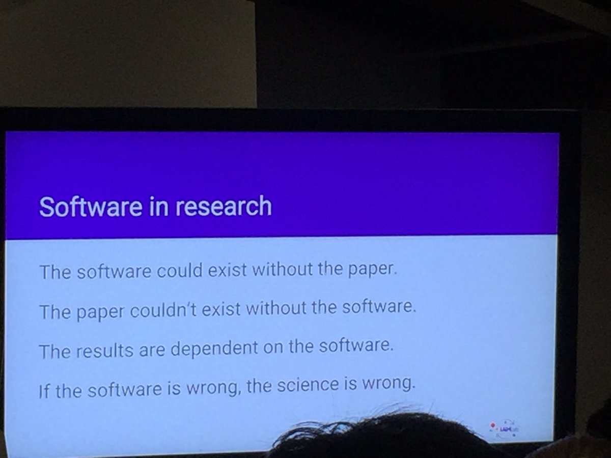Software can exist without a paper but a paper and the results can't. Wrong software = wrong science.  #RSE16 https://t.co/zOdpNgjHrU