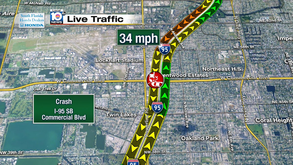 Crash On I Sb At Commercial Blvd Traffic Scoopnestcom - Florida map i 95