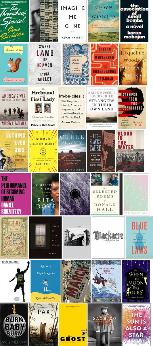 Join us in celebrating these 40 remarkable books longlisted for the 2016 #NBAwards! https://t.co/MfLAxoqbjd https://t.co/zwnuK4Q7XF