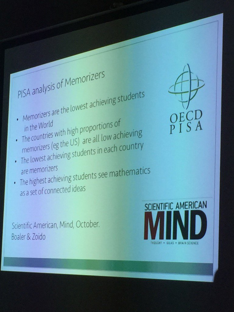 Memorizers are lowest achieving @joboaler #mathleadersneo #onted https://t.co/V2Styxdc63