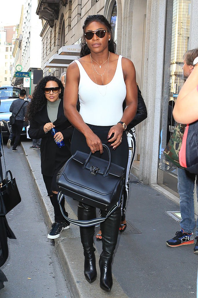 b5a1541efaf serenawilliams carried her  versace palazzo empire bag while out in milan,  italy.  versace