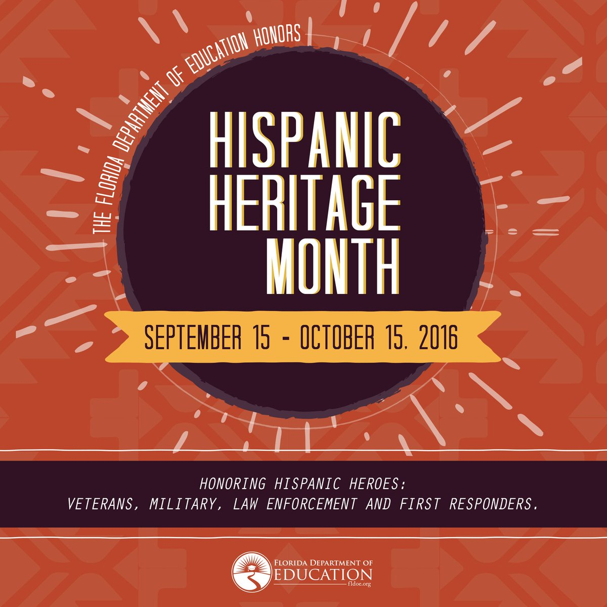 From Sept. 15 to Oct. 15 join us in honoring & celebrating all of our hispanic heroes! #HispanicHeritageMonth #FLedu https://t.co/bW3U9fOpw6