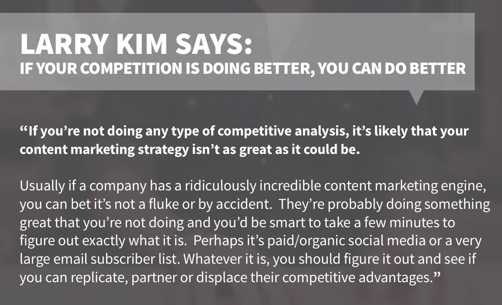 4/10 #B2B #content marketers never check out their competitors. @larrykim's take on it: https://t.co/47Y2MsnET8 https://t.co/ypL0UoEvm6