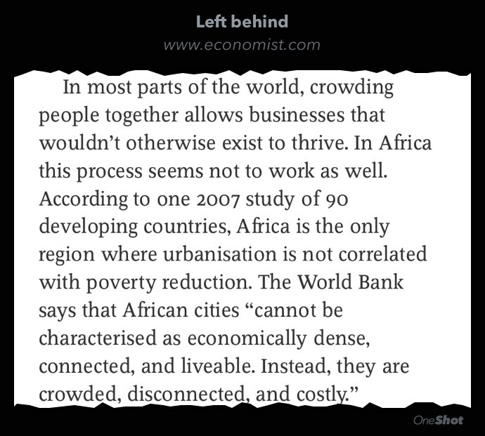 Africa only part of world where urbanization isn't correlated with poverty reduction. Why? https://t.co/qPJSEyC379 https://t.co/rfRjhwtZwY