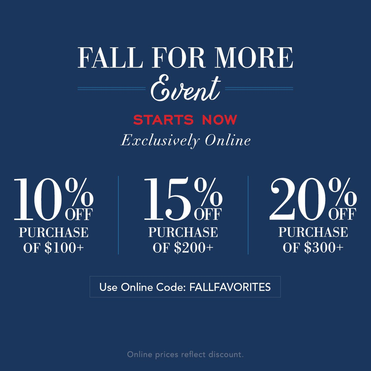 Our fall event starts now! Save up to 20% off with online code: FALLFAVORITES Shop now: https://t.co/qodqGcWSGe https://t.co/AK1wWSttof