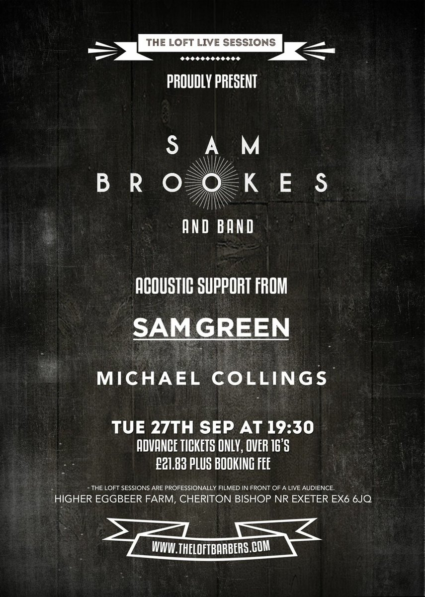 Supporting @Sam_Brookes 27th September for the @LoftBarbersLive gig, really looking forward to this one https://t.co/h90OqhO3fa
