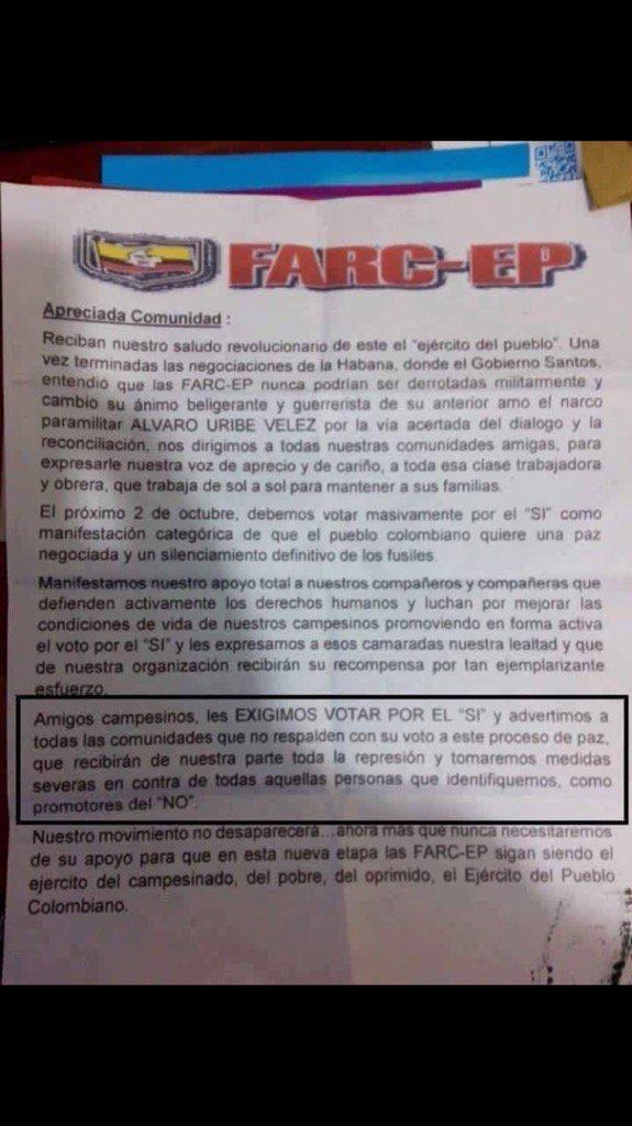 Este panfleto amenazante lo distribuye FARC en la vereda El Guayabo. Campoalegre, Huila. Exigen votar por el Sí. https://t.co/dESLtWF5uc