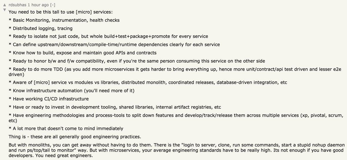 Good hacker news comment on Microservices https://t.co/1PGeSAfzQX https://t.co/1q1JivmBJu