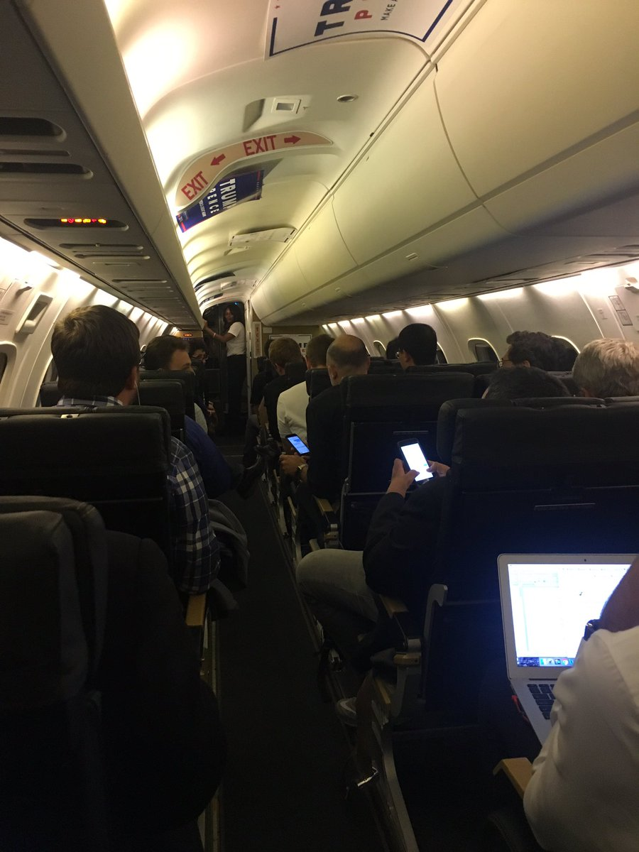 LIVE shot of the press on our campaign-controlled plane as Trump makes fun of us for not being at the rally yet. https://t.co/248MAaUbTp
