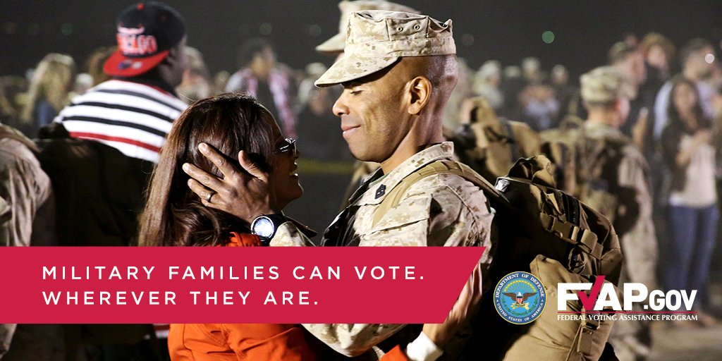 Military members & their spouses can vote from anywhere. Request your absentee ballots: https://t.co/Q1y1fQv7ZW https://t.co/08mEvS5nyi