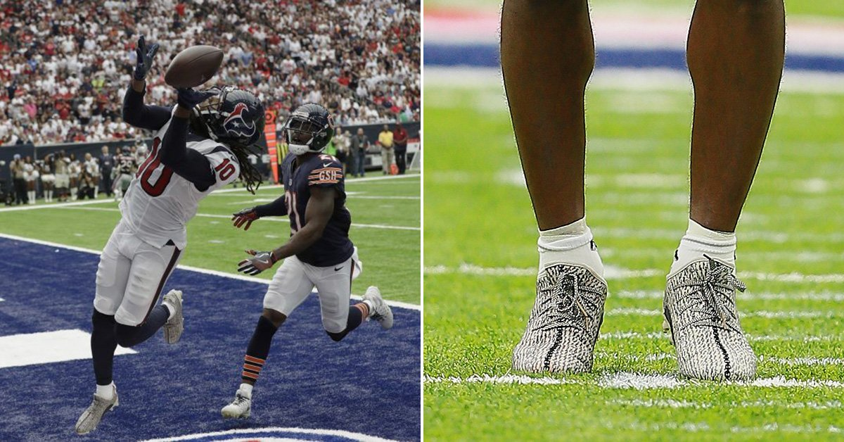 deandre hopkins was fined for wearing kanye s yeezy cleats which sold out  online adb89ae5f