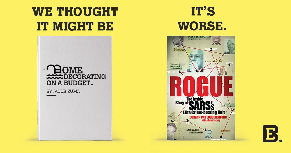 "Breaking! Our mystery book is now revealed. ""Rogue"" takes the lid off state capture: https://t.co/2UGWgaKYVJ https://t.co/nbGXQ82chd"
