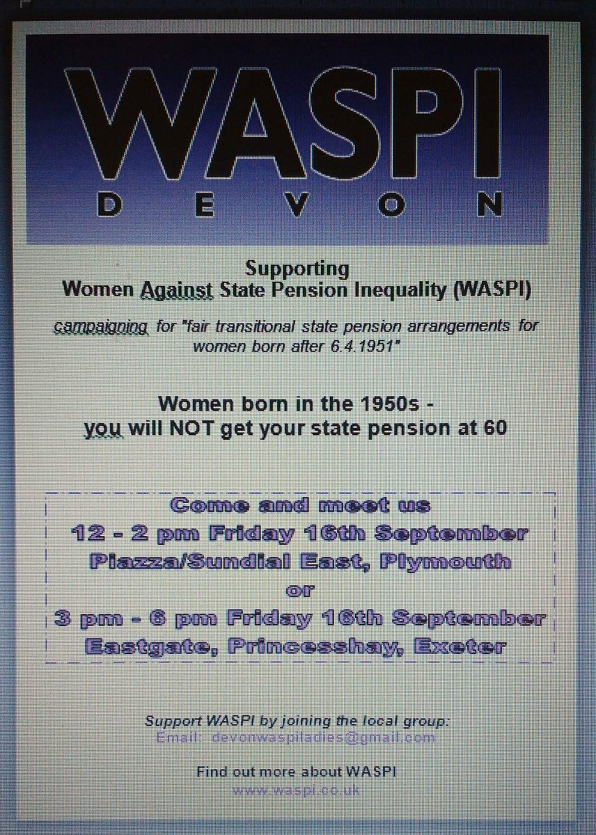 Why has @JohnnyMercerMP @PlymouthCons ignored these amazing women? I'm proud to support @WASPI_Campaign #Plymouth RT https://t.co/sof3G9h02c