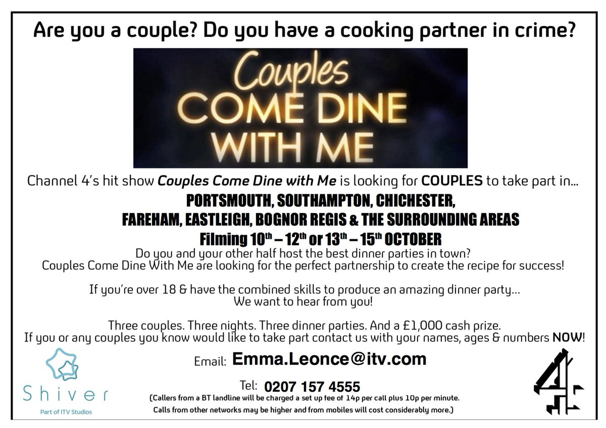 Tom (@Ironsid3)! Couples @ComeDineWithMe is coming to #Chichester! Keen? Get in touch! We'd love to hear from you! https://t.co/FNZknIj0QH