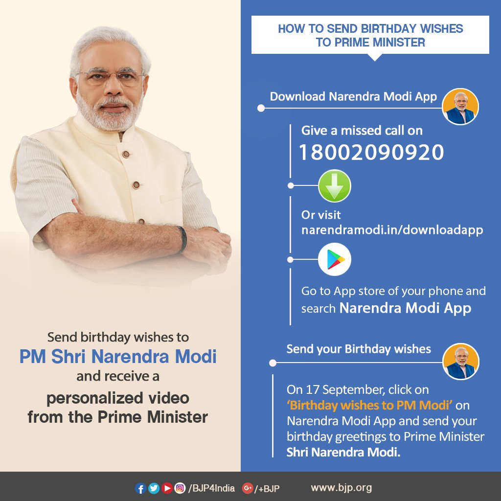 Send Birthday Wishes To Pm Modi Receive A Personalized Video From