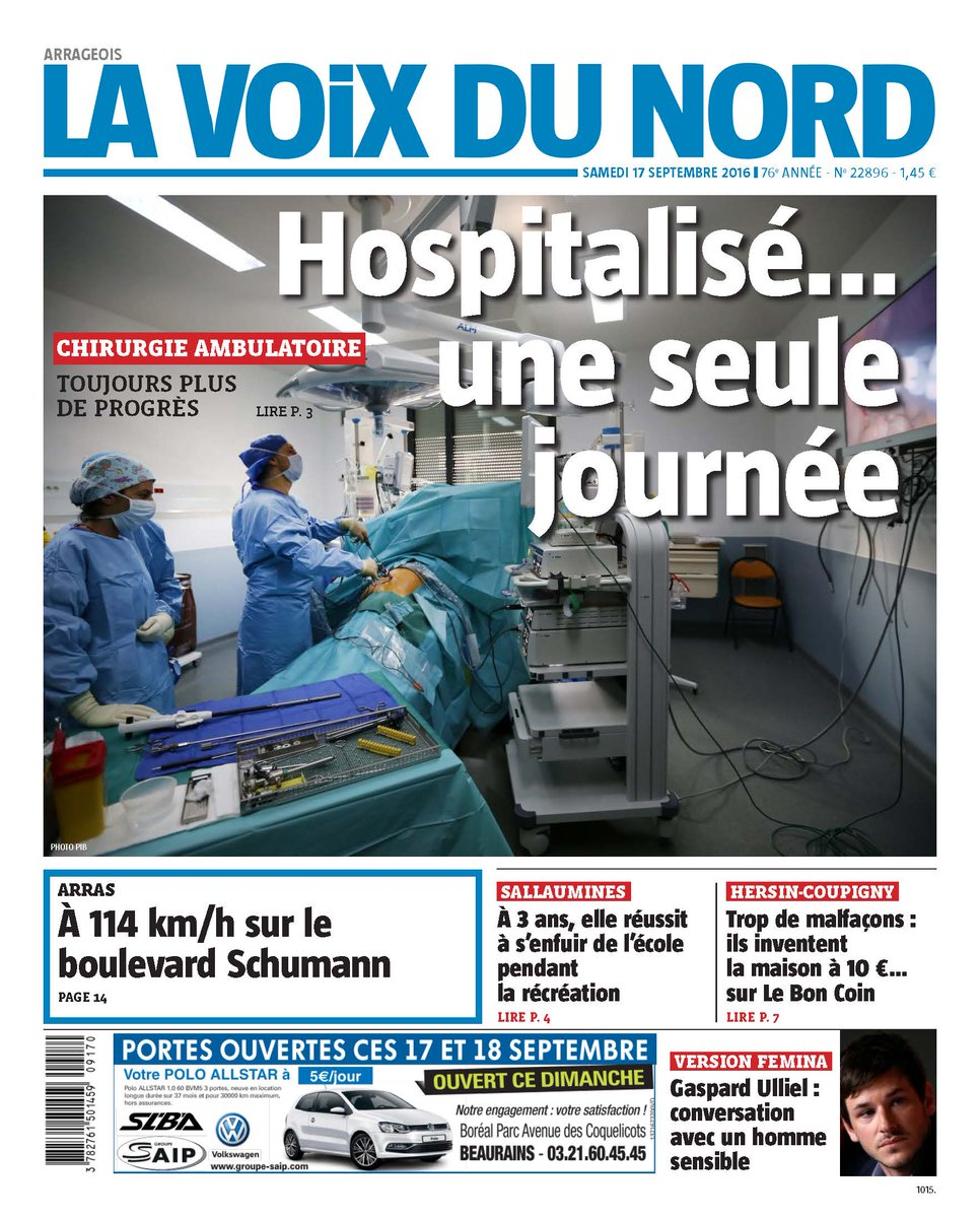 A la une de votre journal demain les progr s de la chirurgie ambulatoire vd - Le journal de demain ...