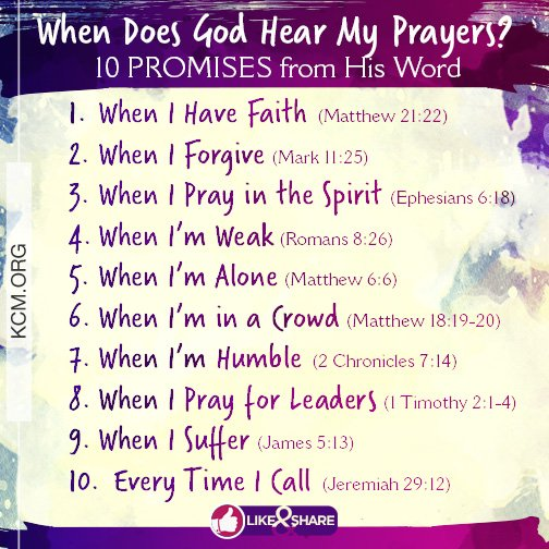 When does God hear your prayers? Here are 10 promises from His Word. https://t.co/OerNYXqkRd