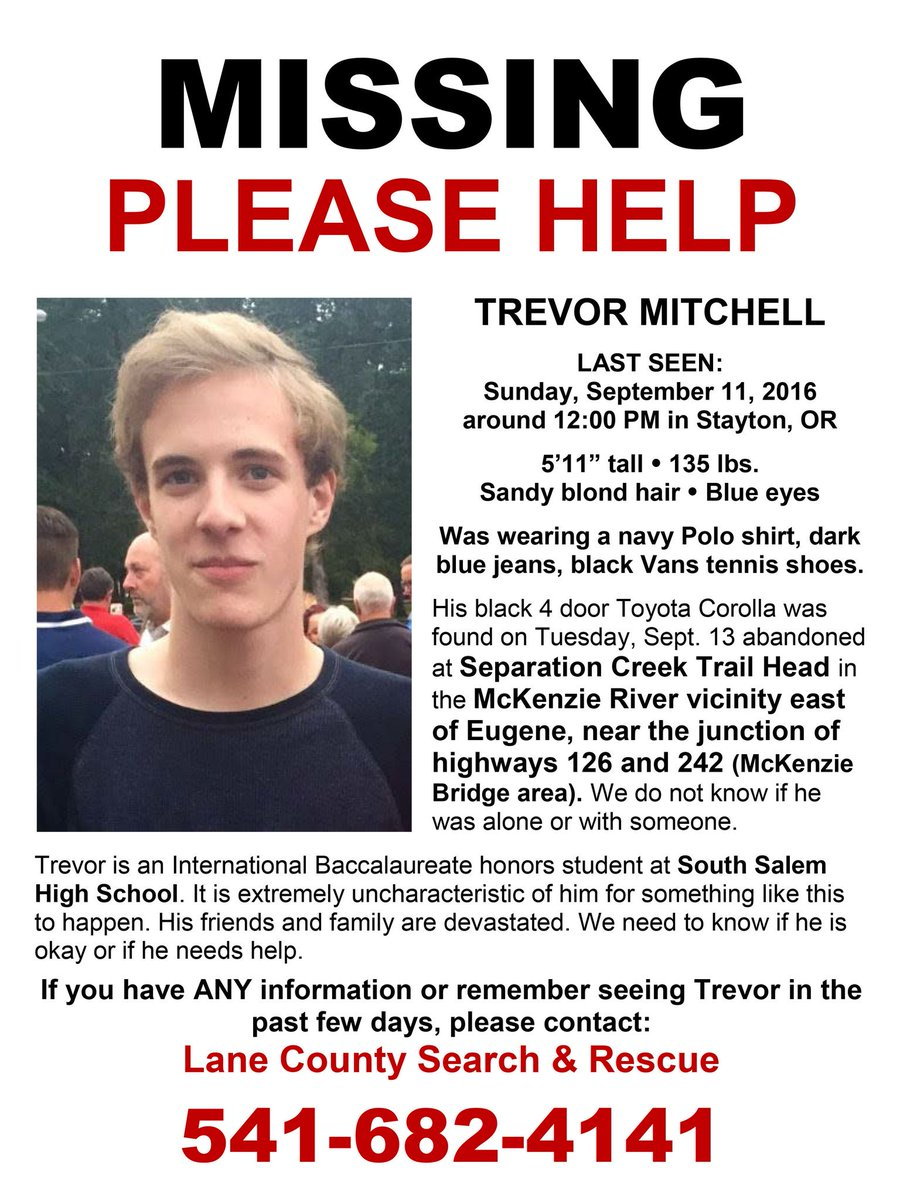 LCSO says hikers found 18-year-old Trevor Mitchell's body near Separation Lake #LiveonKMTR https://t.co/Nx5kdVkLFI