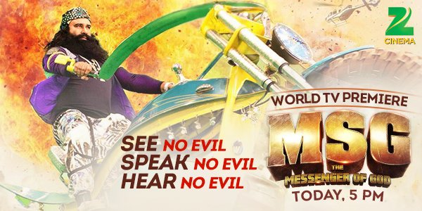 .@Gurmeetramrahim will destroy all EVIL, all by himself in #MSGOnZeeCinema in 2 hours. https://t.co/F0RyTVeWhY