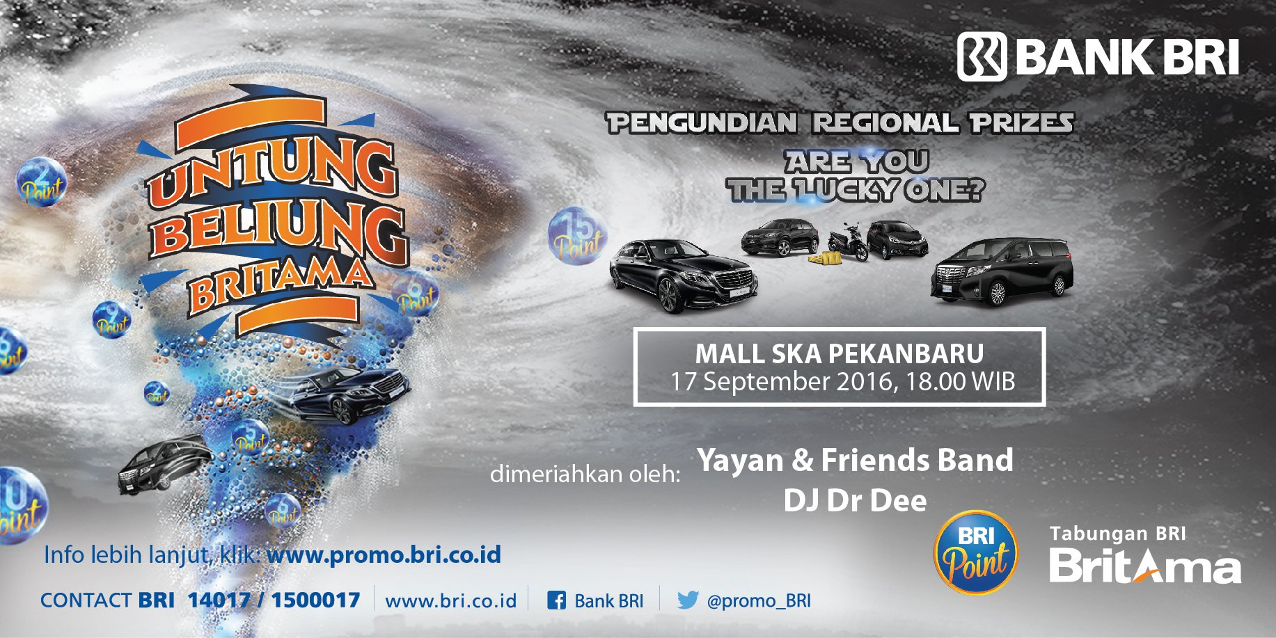 Halo #sahabatBRI di Kota Pekanbaru,Ayo saksikan Pengundian Regional Prize UBB IX di Mall SKA hr ini pkl 18.00 WIB https://t.co/kgvVTlW6Sx