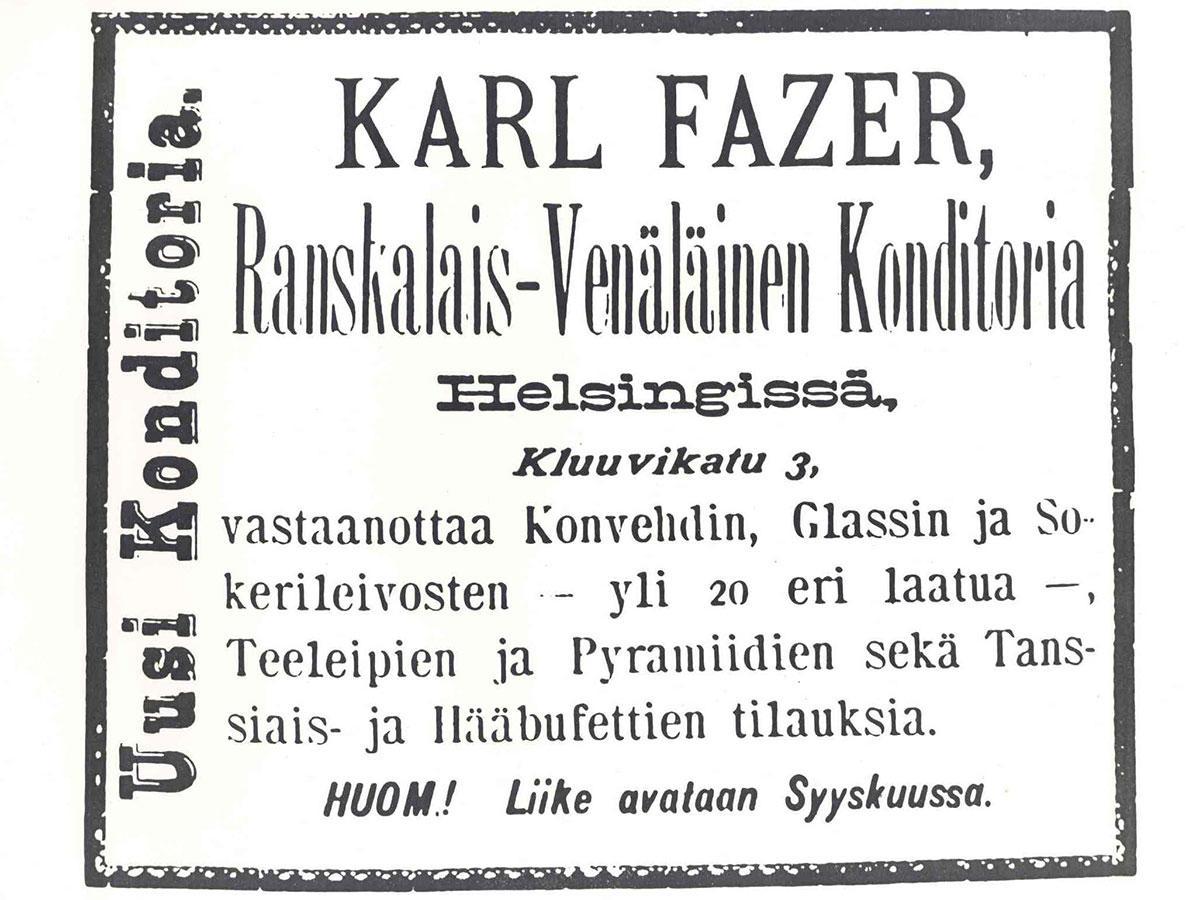 Tänään tulee kuluneeksi 125 vuotta siitä, kun Karl Fazer avasi konditorian Helsingin Kluuvikadulle #Fazerintarina https://t.co/ToQYkI6zsy