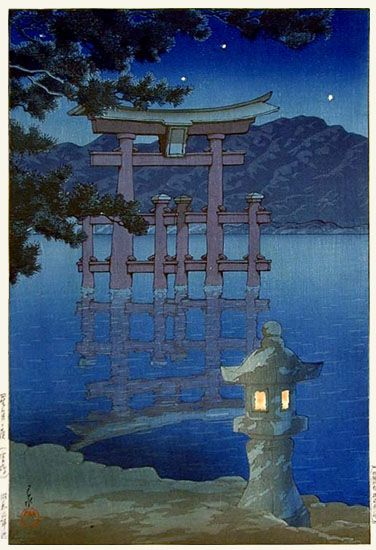 """The stars have already Opened Their autumn eyes""  Koyo Ozaki (尾崎紅葉) (image: Kawase Hasui) https://t.co/cejkfy6ObG"