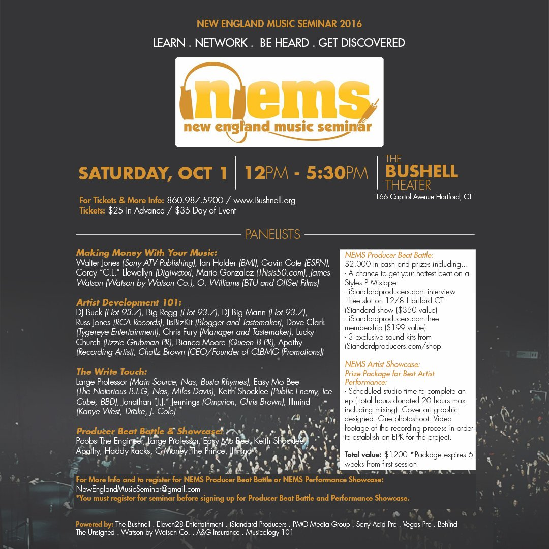 New England Music Seminar is back October 1st at The Bushnell Feat. @largeprofessor @KeithShock @illmindPRODUCER https://t.co/WbjdpRbWwA