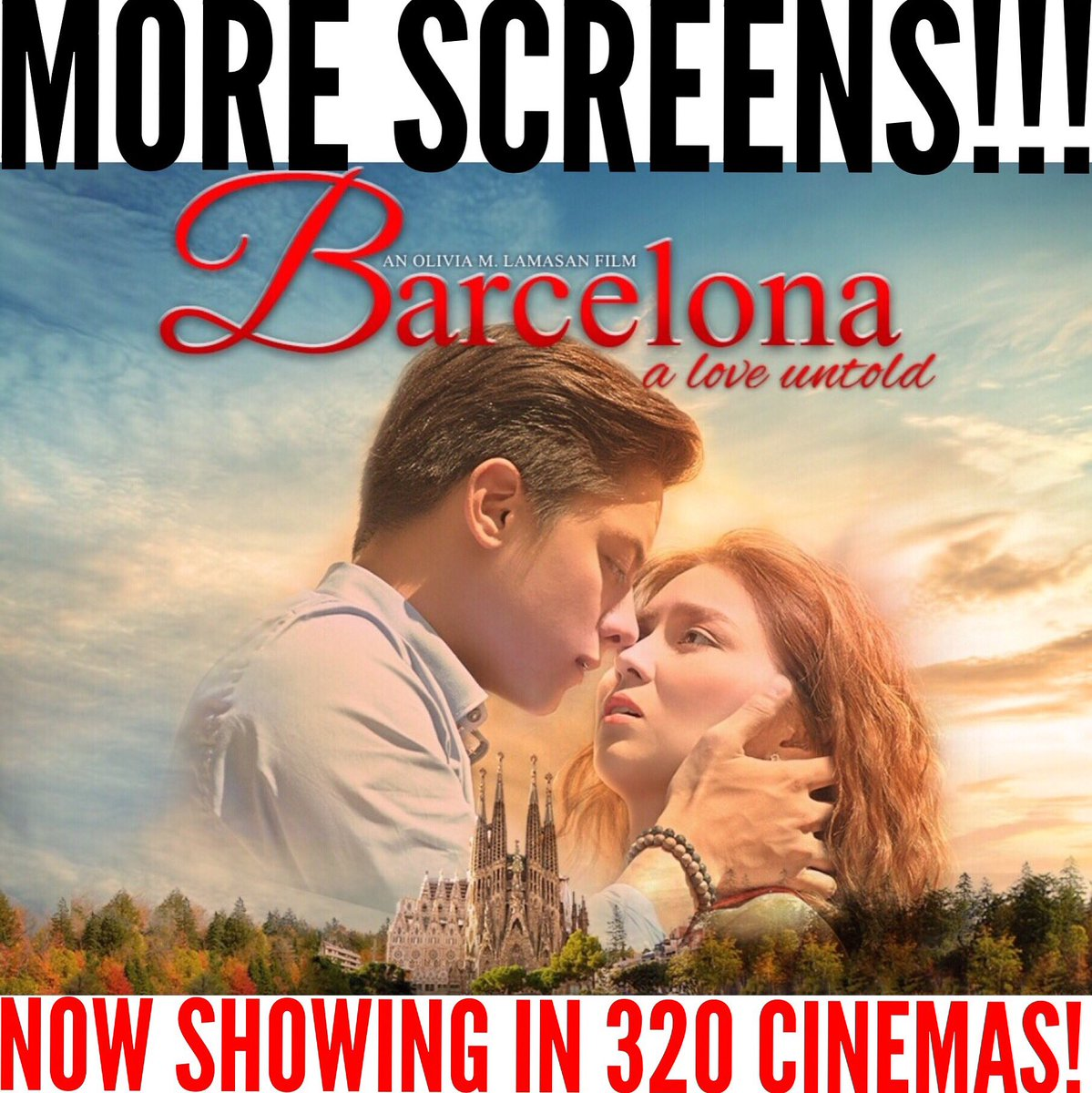 Now Showing in 320 cinemas nationwide!!! Go catch #BarcelonaALoveUntold in theaters everywhere! ❤️❤️❤️ https://t.co/4PU7jtYNIm