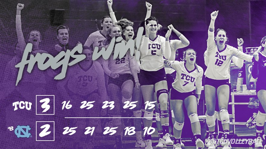 UPSET CENTRAL! #TCUVB seals the 3-2 (16-25, 25-21, 23-25, 25-18, 15-10) win over No. 8 UNC with HUGE block! #GoFrogs https://t.co/RdMoNd06tT