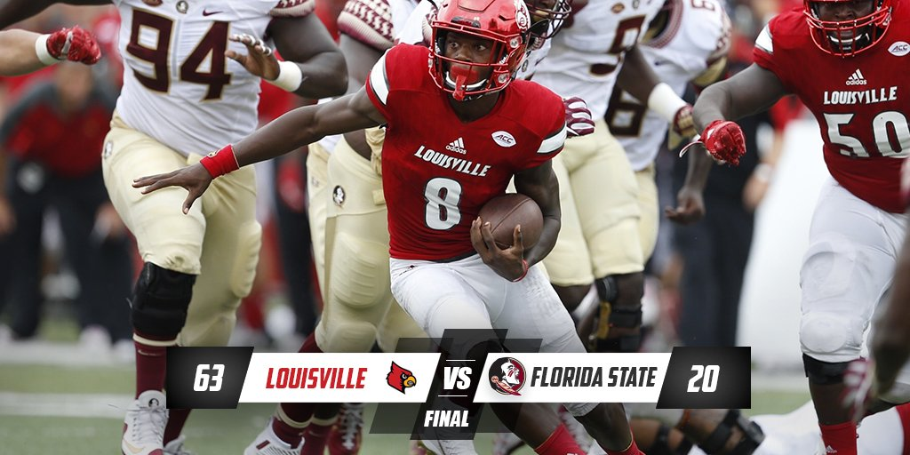 FINAL. No. 10 @UofLFootball knocks off No. 2 Florida State 63-20. Jackson responsible for 5 TDs (4 rush, 1 pass). https://t.co/Fy9LRTszrD