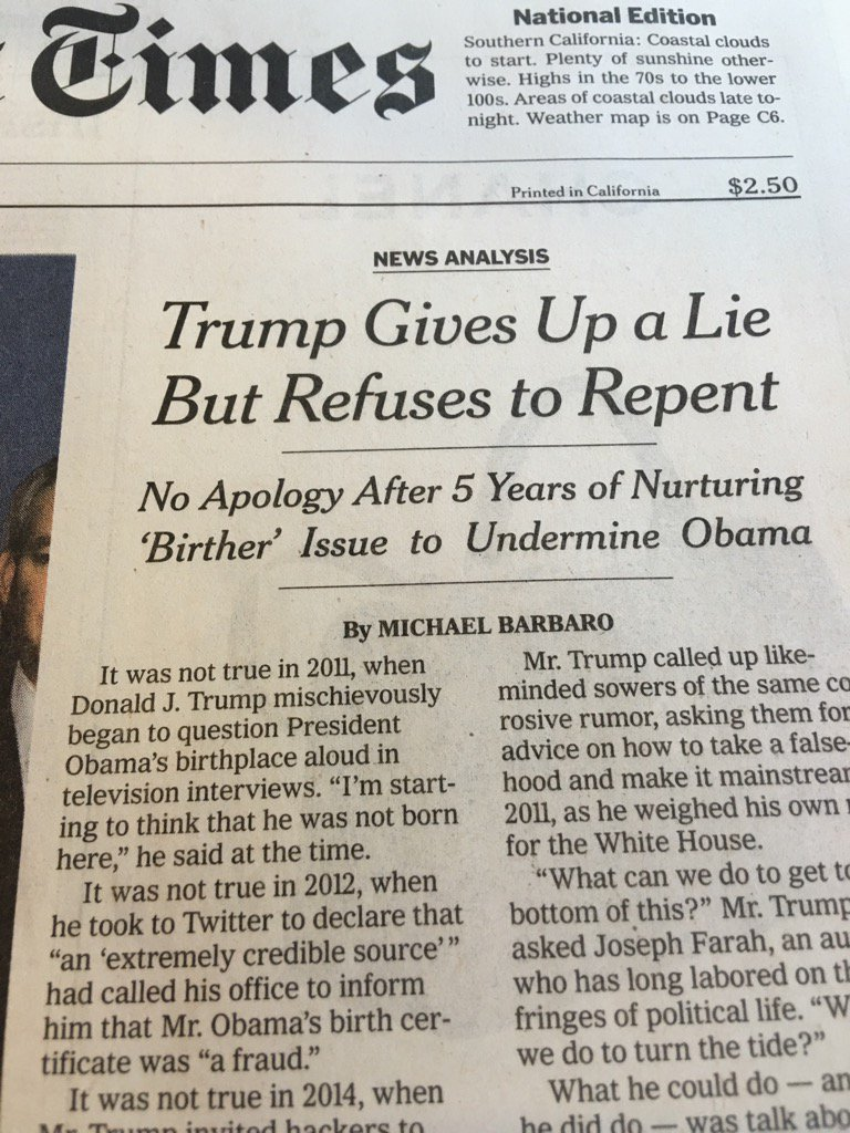 """Finally a lie is a """"Lie"""" in @nytimes headline. With only 51 days left to stop the liar. https://t.co/n6SHl96Q0U"""