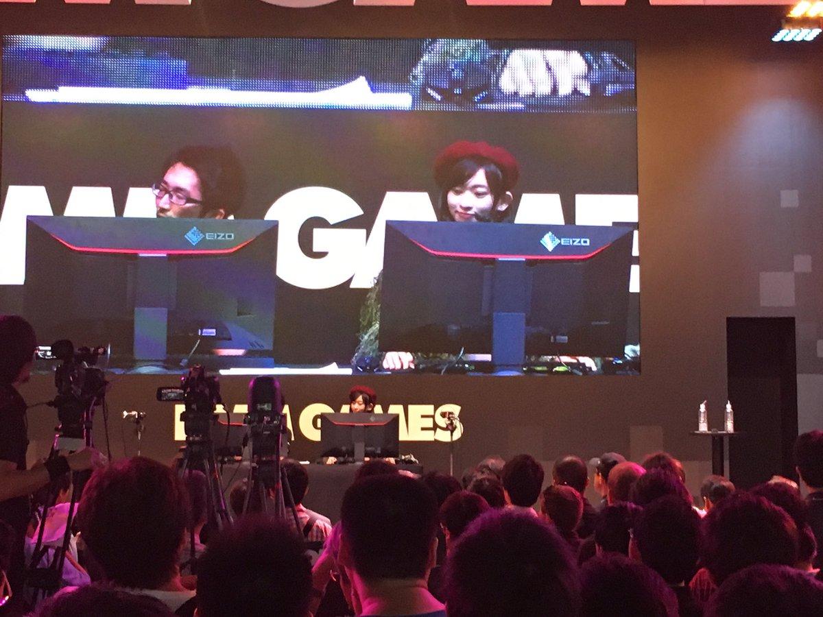 2 pic. DMM GAMES『WarThunder』ステージありがとうございましたー!!撃墜数に応じて生脱衣٩( 'ω' )و 私もなんとか1機撃墜できましたよー!  #TGS2016 #DMM_GAMES