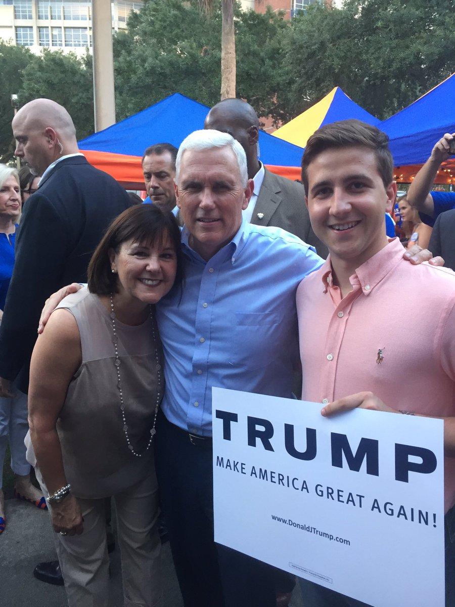Guess who stopped by @UF today? Thank you Governor and Mrs. Pence for taking the time to meet with supporters!