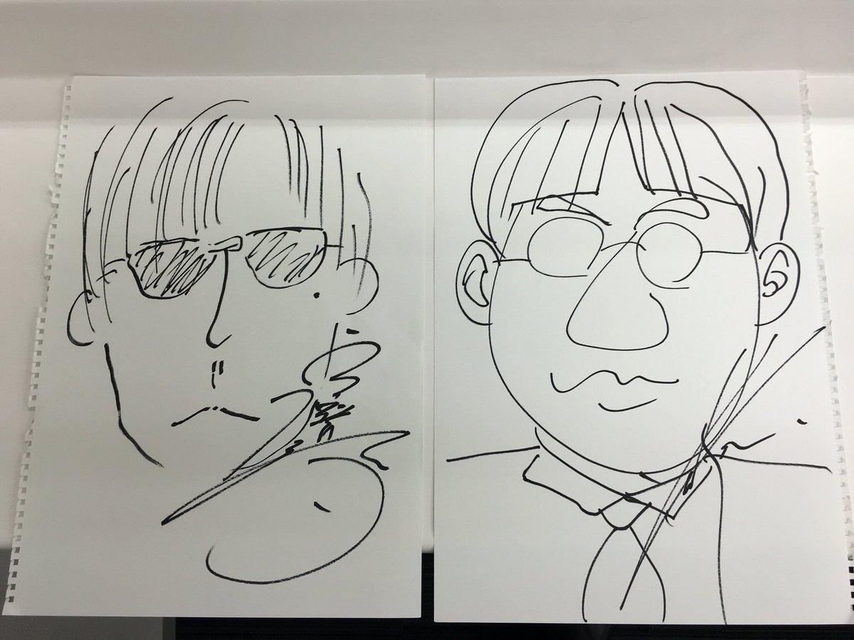 武装センター試験 での、宮野画伯と谷山画伯が描いたサンキュータツオ。  右、写実派の谷山画伯。 左、多少イケメン補正をかけてくださった宮野画伯。  ふたりとも優しい方です。  文豪ストレイドッグス、第2クールもよろしく。 https://t.co/iwoRCA9rmV