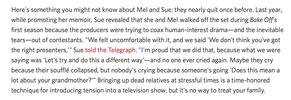 !!! The reason why GBBO is so nice is because Mel and Sue fought for it: https://t.co/ruhlBbEpqR https://t.co/RaluA5Ts0S