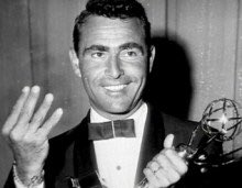 Rod Serling's 6 #Emmys remain the most ever won by a writer. Here he is after winning the 1st one for TZ. #Emmys2016 https://t.co/4okBjOq45w
