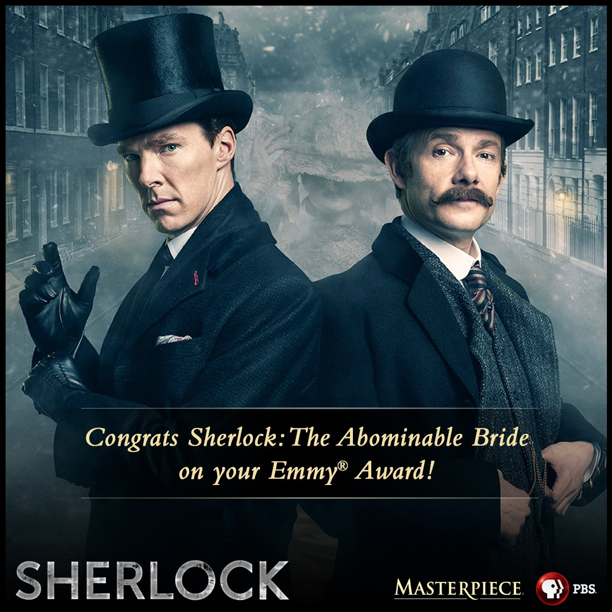 Congratulations #SherlockPBS: The Abominable Bride on your #Emmys win for Outstanding Television Movie! https://t.co/irPEZkG7Kl