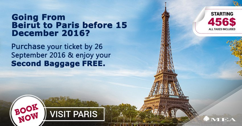 MEA Special offer to Paris!  Book now at
