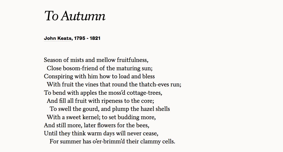 "John Keats' ""To Autumn""—written on this day, 1819. Read the full poem: https://t.co/mb2b3aYbjU https://t.co/jo0zAT6wlc"