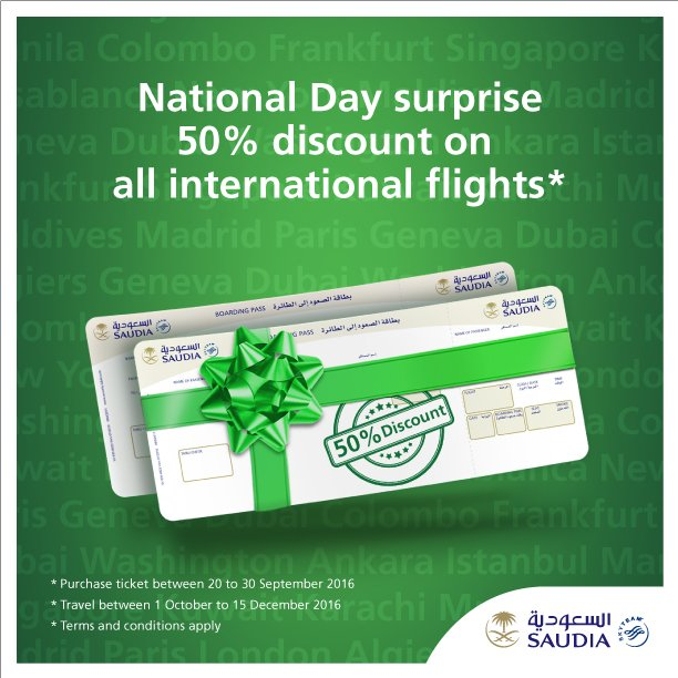 Saudi_National_Day surprise 50% discount on all international flights  For