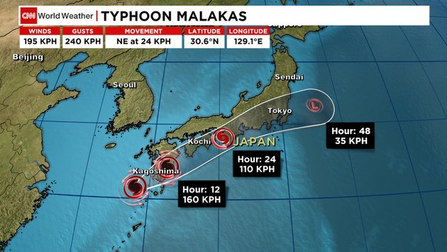 TyphoonMalakas causing flight delays & cancellations in Taiwan.