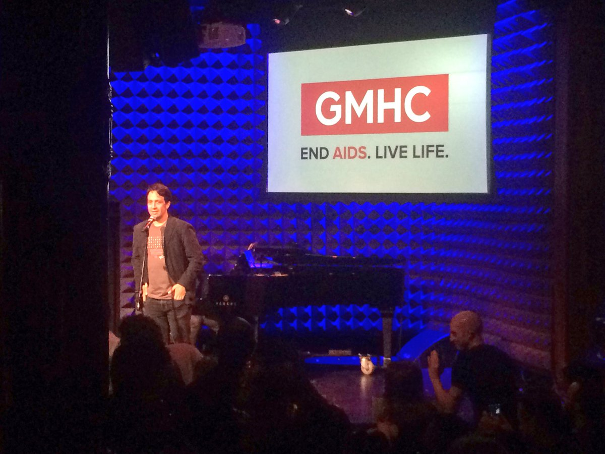 """Surprise! @Lin_Manuel takes the stage at our cabaret and sings """"I'm out""""! #GMHC35 https://t.co/lVbQGpV1C3"""